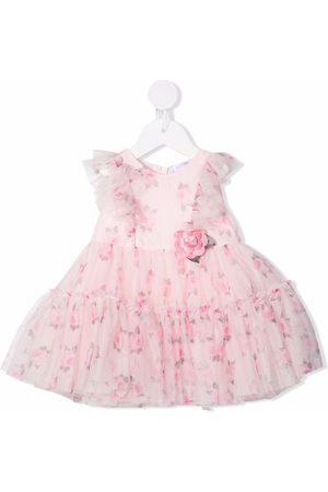 Monnalisa Flower-appliqué sleeveless dress