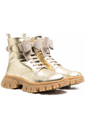 Monnalisa Metallic lace-up chunky boots