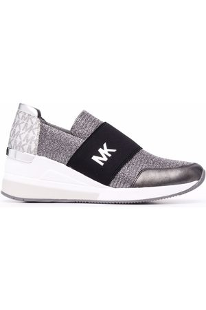 Michael Kors Metallic-knit panelled sneakers - Grey