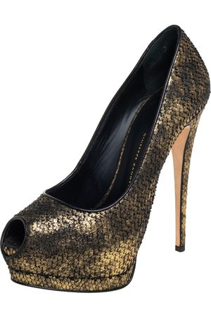 Giuseppe Zanotti /Black Python Embossed Leather Peep Toe Platform Pumps Size 38.5