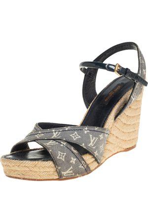 LOUIS VUITTON Grey Monogram Canvas Idylle Espadrille Wedge Sandals Size 38