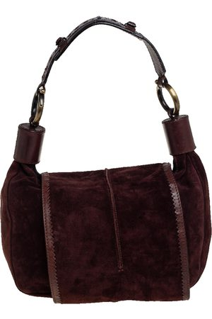 Chloé Dark Brogue Leather and Suede Flap Hobo