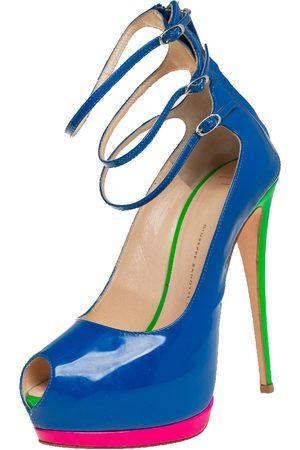Giuseppe Zanotti Patent Leather Multi Strap Peep Toe Platform Pumps Size 39