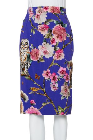 Dolce & Gabbana Enchanted Forest Printed Crepe Pencil Skirt M