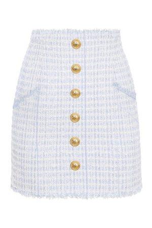 Balmain High-rise Buttoned Tweed Mini Skirt - Womens