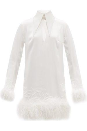 16arlington Michelle Feather-trimmed Satin Mini Dress - Womens - Ivory