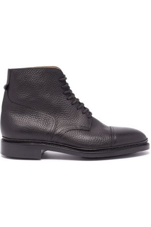 JOHN LOBB Men Ankle Boots - Skye Lace-up Grained-leather Ankle Boots - Mens