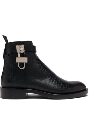 Givenchy Lock-embellished Lizard-effect Leather Ankle Boots - Mens