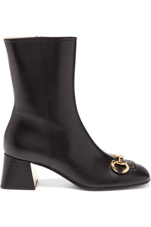 Gucci Horsebit-chain Leather Ankle Boots - Womens