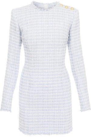 Balmain Check Tweed Mini Dress - Womens