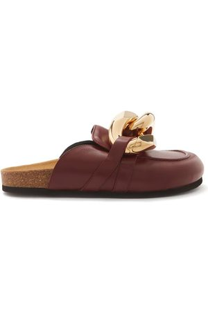 J.W.Anderson Chain Backless Leather Loafers - Womens - Burgundy
