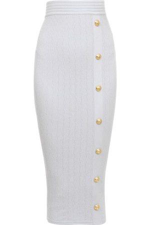 Balmain High-rise Buttoned Rib-knit Pencil Skirt - Womens