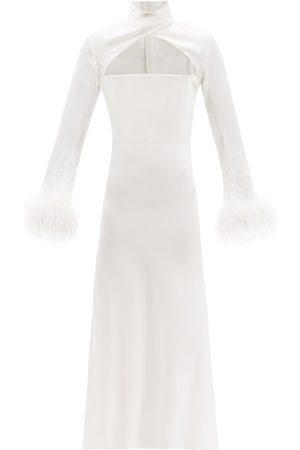 16Arlington Women Midi Dresses - Odessa High-neck Feather-trim Satin Dress - Womens - Ivory