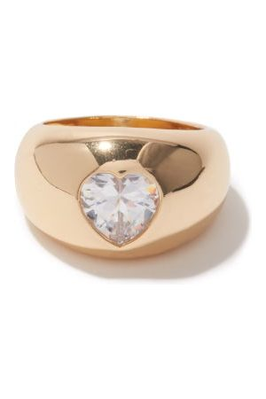 Timeless Pearly Crystal-heart 24kt -plated Ring - Womens