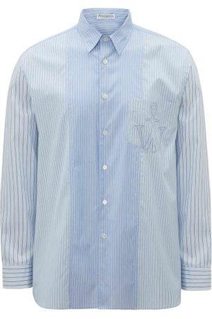 J.W.Anderson Logo-embroidered Striped Poplin Shirt - Mens
