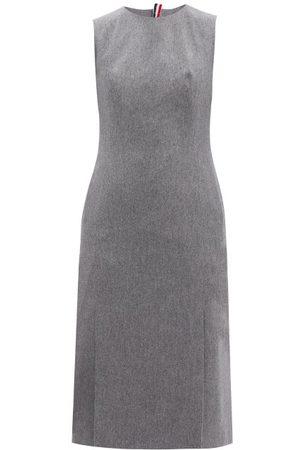 Thom Browne Tricolor-trim Boiled Wool-blend Pencil Dress - Womens - Grey