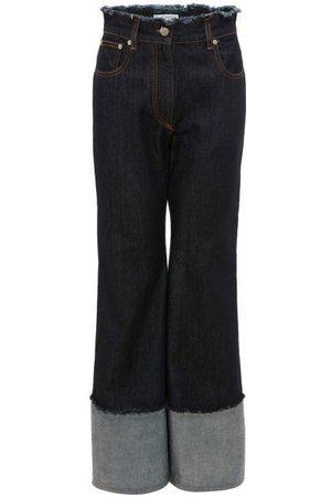 J.W.Anderson Logo-embroidered Raw-edge Wide-leg Jeans - Womens - Dark Denim