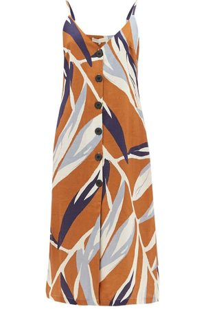 Cala De La Cruz Luisa Leaf-print Linen Midi Dress - Womens - Multi