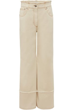 J.W.Anderson Logo-embroidered Raw-edge Wide-leg Jeans - Womens - Ivory