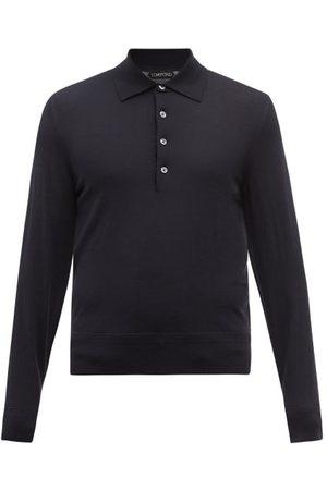 Tom Ford Merino-wool Long-sleeved Polo Shirt - Mens - Navy