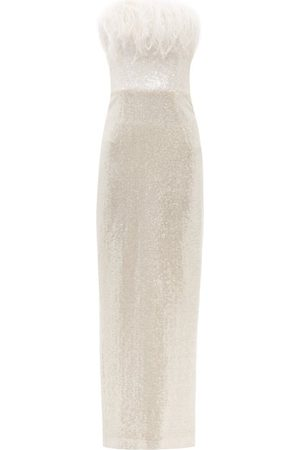 16Arlington Women Strapless Dresses - Jorja Feather-trim Off-the-shoulder Sequinned Gown - Womens - Ivory