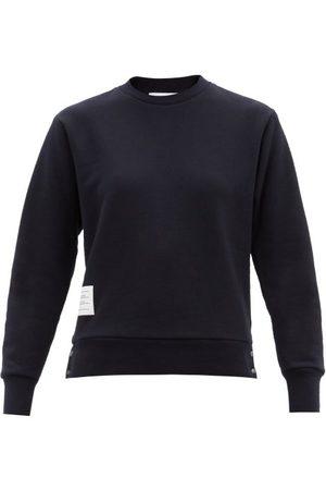 Thom Browne Tricolour-trim Cotton-jersey Sweatshirt - Womens - Navy