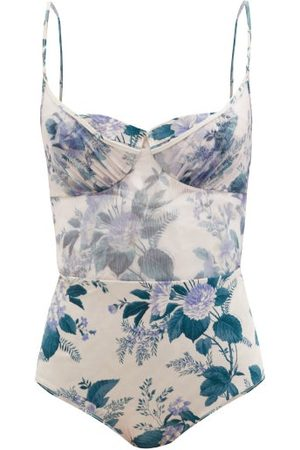 ZIMMERMANN Cassia Underwired Floral-print Swimsuit - Womens - Print