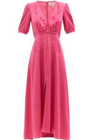 SALONI Lea Floral-appliqué Silk-satin Midi Dress - Womens