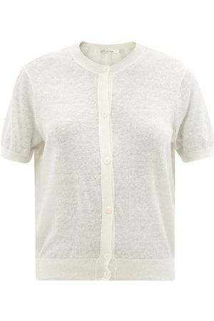 The Row Cervino Short-sleeved Linen-blend Cardigan - Womens - Ivory