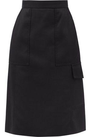 Moncler Women Midi Skirts - Flap-pocket Gabardine Midi Skirt - Womens