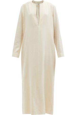 The Row Simona Notch-neck Wool-twill Dress - Womens - Ivory