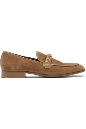Gianvito Rossi Belem Braided-strap Suede Loafers - Mens - Light