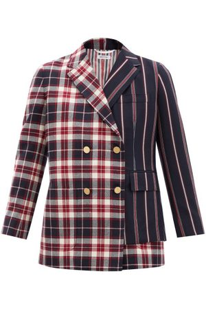 Thom Browne Bi-pattern Double-breasted Wool-twill Blazer - Womens - Multi