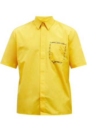 Fendi Men Short sleeves - Cord-pocket Oversized Cotton Short-sleeve Shirt - Mens
