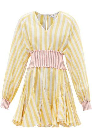 Rhode Olivia Belted V-neck Cotton-blend Mini Dress - Womens - Stripe