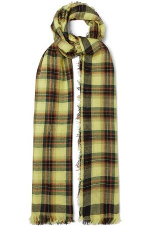Loewe Anagram-embroidered Check-cashmere Scarf - Mens