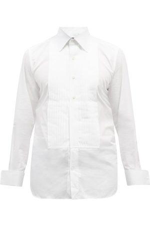 Tom Ford Pleated Bib-front Cotton-poplin Tuxedo Shirt - Mens