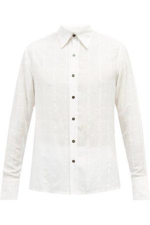 73 London Raw-edge Windowpane-check Poplin Shirt - Mens