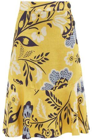 Cala De La Cruz Vivian Floral-print Linen Midi Skirt - Womens - Print