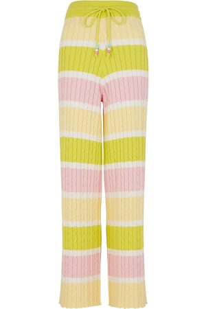 Olivia Rubin Isobel striped cable-knit cotton trousers