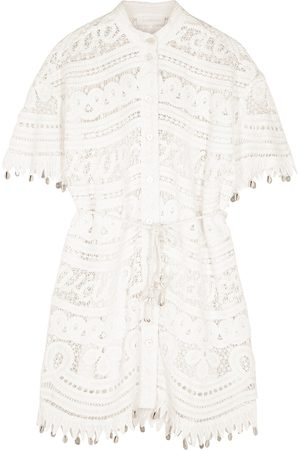 ZIMMERMANN Shelly ivory embroidered crochet lace shirt dress
