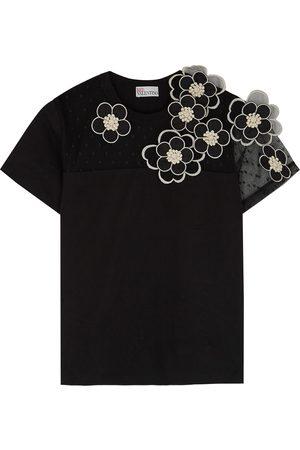 RED Valentino Floral-appliquéd cotton T-shirt