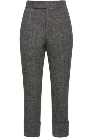 SAPIO Brushed Wool Cropped Straight Leg Pants