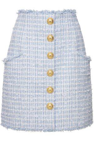 Balmain High Waist Cotton Blend Tweed Mini Skirt