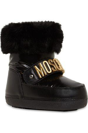 Moschino Logo Nylon Snow Boots W/ Faux Fur