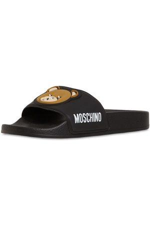 Moschino Girls Sandals - Teddy Bear Patch Rubber Slide Sandals