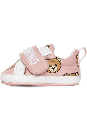 Moschino All Over Teddy Bear Leather Sneakers