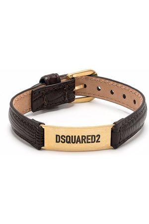 Dsquared2 Logo-plaque leather bracelet