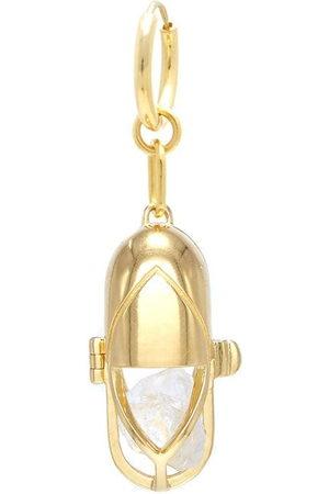 Capsule Eleven Women Hoop - Quartz crystal capsule hoop earring
