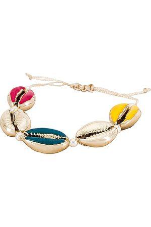 Baublebar Seashell Charm Pull-Tie Bracelet in Metallic Gold.